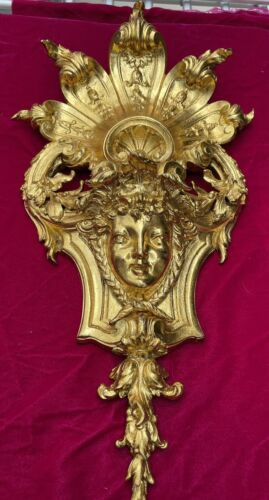 Antique French Ormolu Bronze Crowned Goddess Wall Sconce