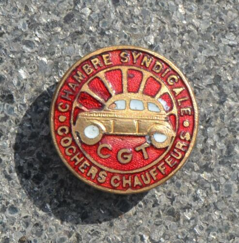 insigne boutonnière CGT 1920-30 Chambre Syndicale COCHERS CHAUFFEURS  (Taxi)
