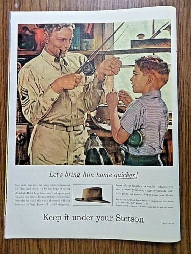 1944 Stetson Hats Ad  Let's Bring him Home Quicker  Keep it Under your Stetson