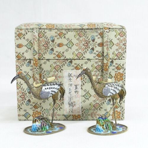 D0181: Popular Chinese pair of small crane statue, GIN-SHIPPO (silver cloisonne)