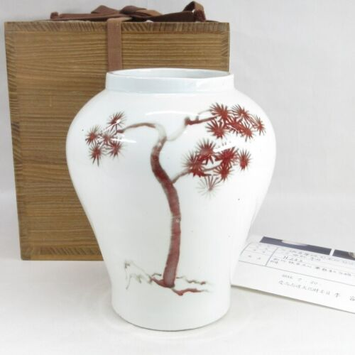 D0182: Korean white porcelain vase with appropriate painting by cinnabar glaze