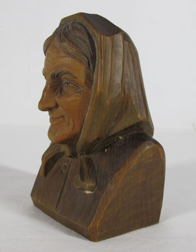 """Antique 6"""" Black Forest Wood Carving Old Scarf Covered Woman Grandma Bust yqz"""