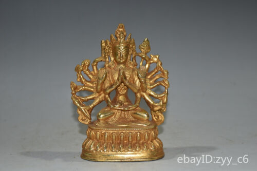"""4.6""""China Tibet Pure copper Gilded Double lotus baseThousand Hands Buddha Statue"""