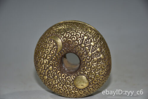"""2.6"""" China antique Backflow Old pure copper Gilded Turn bell ornaments"""