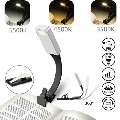 Reading Clip Light On Book Usb Rechargeable Flexible Led Eye Protection Lights
