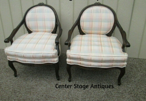 58515  Pair French Country Bergere Armchair Chairs
