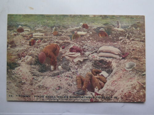 WORLD WAR I POSTCARD DAILY MAIL OFFICIAL WAR BATTLE PICTURES TOMMY SLEEPING No17