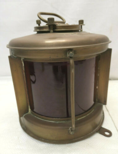 Vintage Copper Metal Ship's Light RED GLASS JAPANESE Lamp 1970s Electrical #60