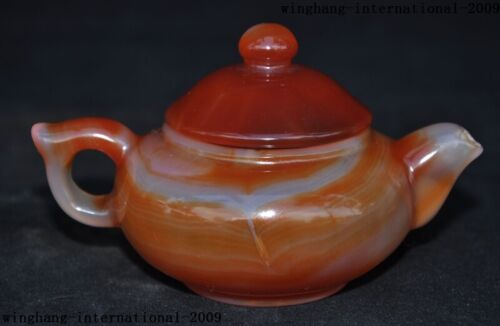 """5""""Old Chinese Natural Agate Onyx Hand-carved teapot tea set pot Tea maker statue"""