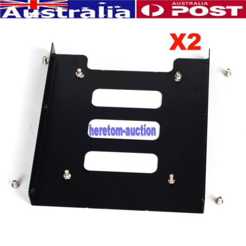 """2X 2.5"""" to 3.5"""" Bay SSD Metal Hard Drive HDD Mounting Bracket Adapter Dock /Tray"""