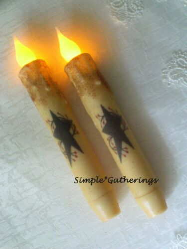 """NEW Black Star Berries IVORY TIMER Taper Candles 2 pc Primitive 6.5"""" Grungy"""