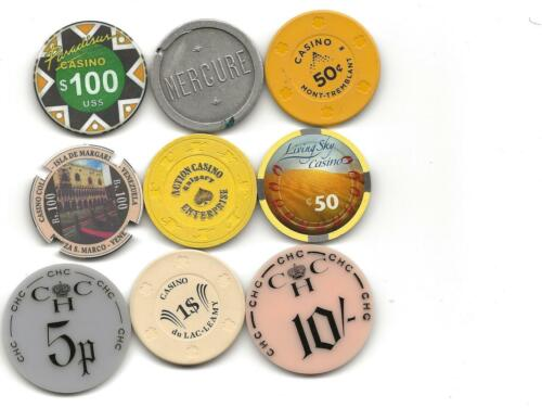 Collection Of 9 Different Casino Chips Or Jetons From Non US Venues-Lot 5