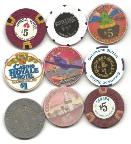Collection Of 9 Different Casino Chips From Various Sources In Nevada-Lot 10