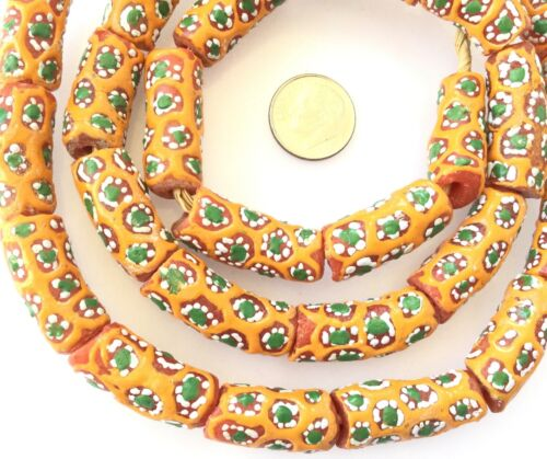 Ghana handmade Millefiori coral Multi colored Recycled glass African trade beads