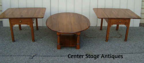59374 OSKAR HUBER 3 pc Solid Pine Coffee Table Set with 2 Drop Leaf End Tables