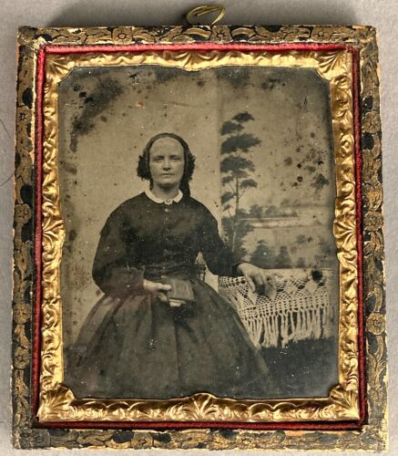 1/6 PLATE AMBROTYPE OF WOMAN WITH BOOK, PAINTED BACKDROP, HANGING CASE/FRAME
