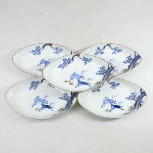 D0363: Real Japanese OLD IMARI porcelain five ellipse plates with horse painting