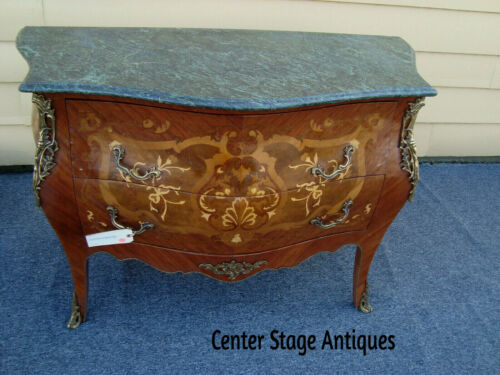 57438   Louis XV Inlaid MarbleTop Dresser Chest Bronze Mountings