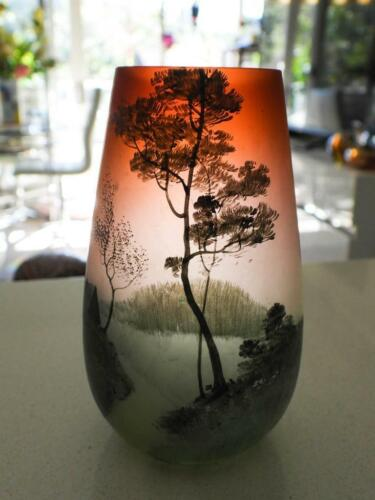 Antique Cameo Hand Painted Glass Vase - Signed on Base DF FB - Stunning! H12cm