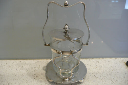 Antique Silver Plated Pickle Dish/Jam Pot EPNS in Beautiful Stand