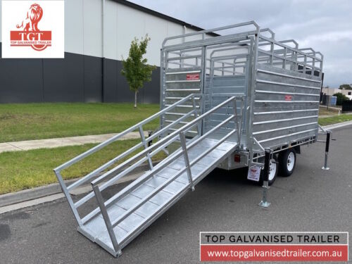 CATTLE & FLAT TOP 2 IN 1 TRAILER ATM 3500KG WITH RAMP REMOVABLE CRATE CAGE 12x7
