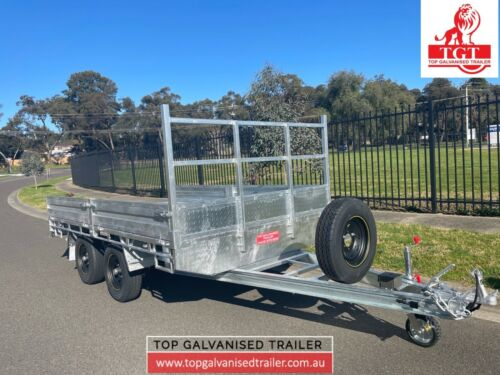 12×7 FLAT TOP TRAILER GALVANISED ATM 3.5T, RAMPS, ELECTRIC BRAKE ON FOUR WHEELS