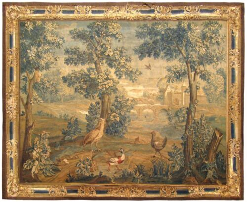 Antique 18th Century French Landscape Verdure Tapestry, with Birds in the Woods