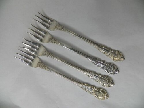 """WALLACE SIR CHRISTOPHER STERLING SILVER SET OF 4 COCKTAIL FORKS 5 1/2"""" NO MONO"""