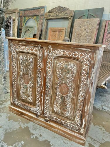Vintage Sideboard, Rustic Cabinet Chest, Carved Doors, Whitewashed Storage Chest