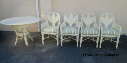 """43650 QUALITY   Marble Top Dining Patio Table w/ 4 Chairs  Top 48"""" round"""