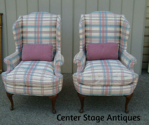 59366    Pair Queen Anne Wing Chairs w Goose Down Cushions and Pillow  QUALITY
