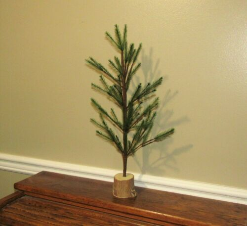 """Primitive Antique Vtg Style 16"""" Green Feather Christmas Tree w/ Wood Base AS IS"""