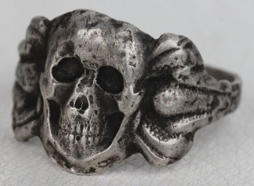 RING SKULL Bones STERLING Silver 800 Amulet from death and disease WW2 wwII WWI
