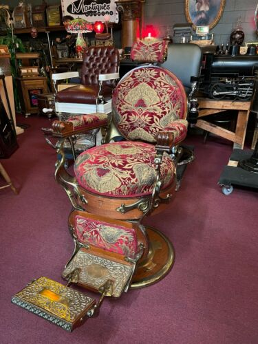 """Early 1900's Emil J. Paidar Oak Round Seat Barber Chair   """"Watch Video"""""""