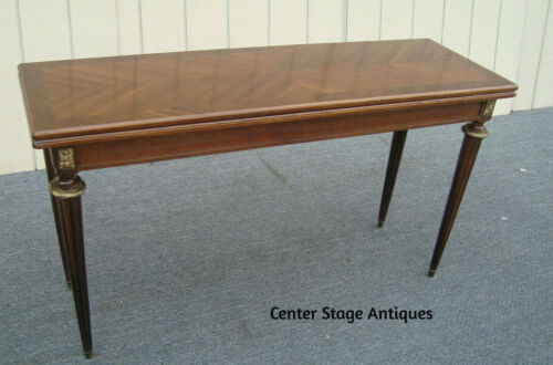 62068 Quality French Mahogany and Bronze Flip Top Dining Console Sofa Table