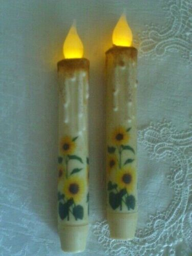 """NEW SUNFLOWERS WRAP IVORY TIMER Taper Candles 2pc Farmhouse Rustic 6.5"""" Summer"""
