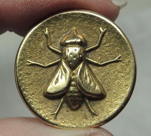 """ANTIQUE BRASS PICTURE BUTTON ~ BEE  7/8"""""""