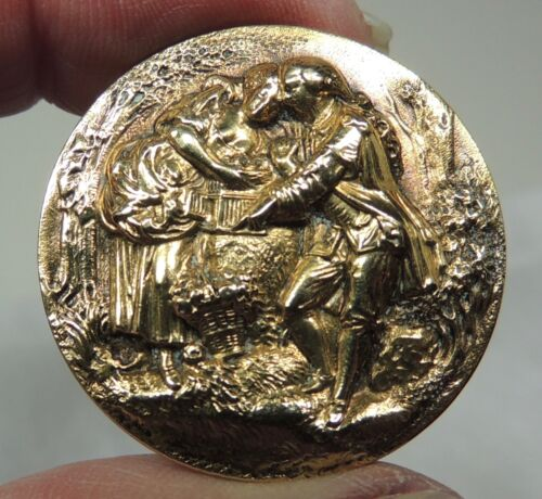 ANTIQUE BRASS PICTURE BUTTON ~  LOVERS WITH A BIRDCAGE