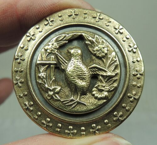 ANTIQUE BRASS PICTURE BUTTON ~ HENNY PENNY