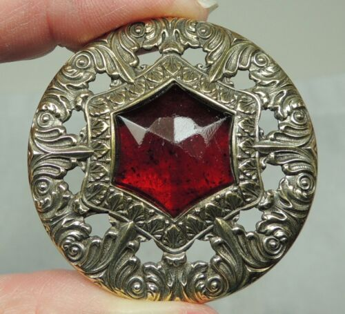 ANTIQUE BRASS GAY 90s BUTTON W/ FACETED RED GLASS STONE JEWEL