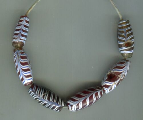 African Trade beads Vintage Venetian old glass 6 nice old red feather beads