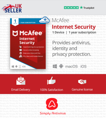 McAfee Internet Security 2021 - 1 Device Year - 5 Minute Delivery by Email