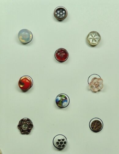 CARD OF BUTTONS ~ LOT OF 10 ~ 6 DIMINUTIVE & 4 SMALL ~ GLASS METAL MOP