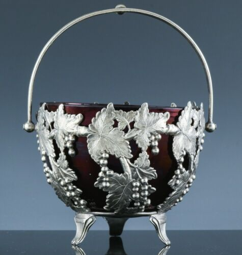 SUPERB c1900 LEAF & BERRY SILVER PLATE & RUBY GLASS CONDIMENT SAUCE SERVING BOWL