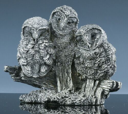 FABULOUS MCM OWL FAMILY FIGURAL 925 STERLING SILVER FILLED PAPERWEIGHT FIGURINE
