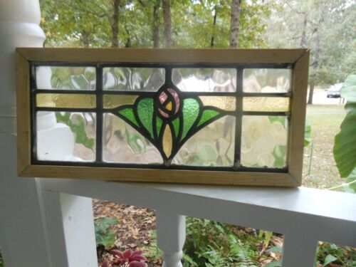 """P8-283  English """"Rose"""" Stained Glass Window Reframed 18 3/8"""" X 8 1/4"""" Last One!!"""