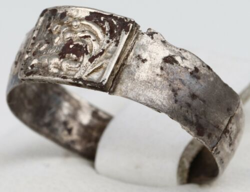 ANTIQUE Ring 18-19th STERLING Silver 875 Mark 84 Flower ORNAMENT Russia Size 9