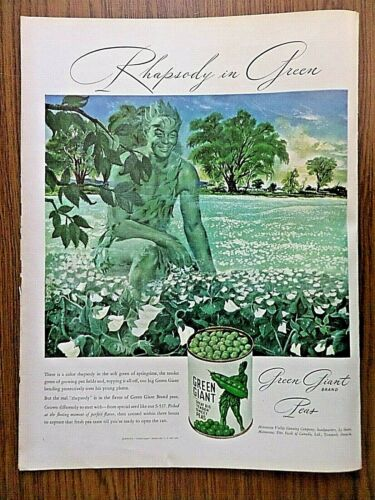 1947 Jolly Green Giant Peas Ad  Rhapsody in Green 1947 Textron Ad Bedroom Colors