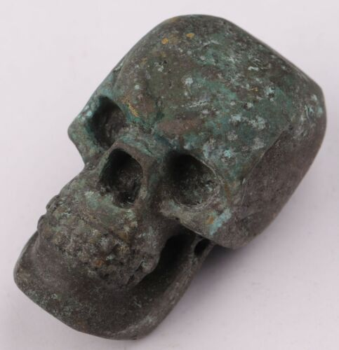 Antique SKULL Amulet from death and disease WW2 wwII or WW1 wwI Bronze OLD Europ