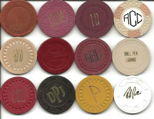 Group Of 12 Different Casino Chips From ILLEGAL-CALIFORNIA or UNKNOWN Spots-#4